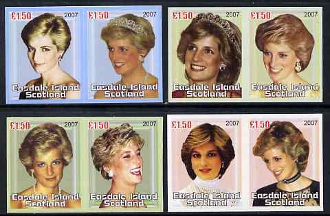 Easdale 2007 Princess Diana imperf set of 8 x \A31.50 values (4 se-tenant pairs) unmounted mint