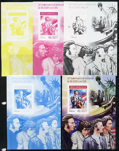 Mozambique 2014 50th Anniversary of Beatles Trip to USA #1 s/sheet - the set of 5 imperf progressive proofs comprising the 4 individual colours plus all 4-colour composite, unmounted mint
