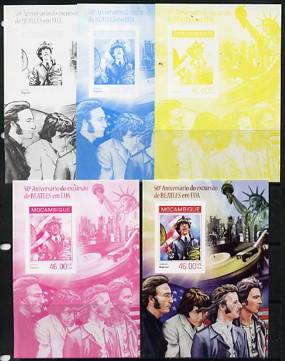 Mozambique 2014 50th Anniversary of Beatles Trip to USA #3 s/sheet - the set of 5 imperf progressive proofs comprising the 4 individual colours plus all 4-colour composite, unmounted mint