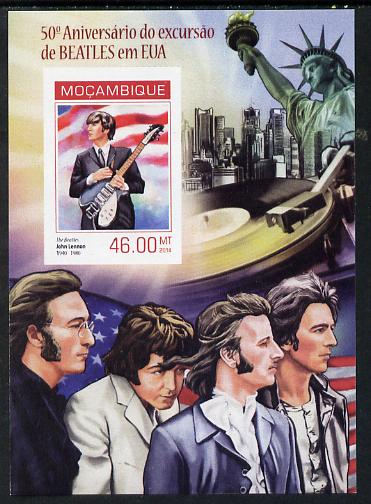 Mozambique 2014 50th Anniversary of Beatles Trip to USA #4 imperf s/sheet unmounted mint. Note this item is privately produced and is offered purely on its thematic appeal