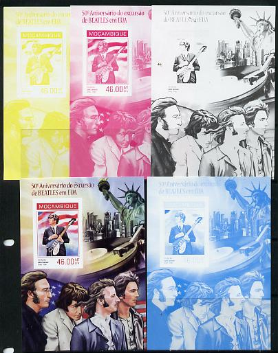 Mozambique 2014 50th Anniversary of Beatles Trip to USA #4 s/sheet - the set of 5 imperf progressive proofs comprising the 4 individual colours plus all 4-colour composite, unmounted mint