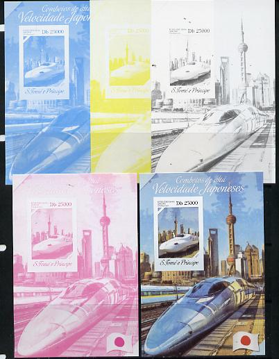 St Thomas & Prince Islands 2014 Japanese High Speed Trains #1 s/sheet - the set of 5 imperf progressive proofs comprising the 4 individual colours plus all 4-colour composite, unmounted mint