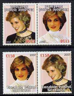 Easdale 2007 Princess Diana \A31.50 #1 perf se-tenant pair with images transposed and Country, value & date inverted (normal shown here for comparison but is not included) unmounted mint
