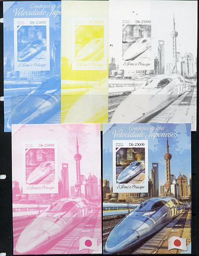St Thomas & Prince Islands 2014 Japanese High Speed Trains #2 s/sheet - the set of 5 imperf progressive proofs comprising the 4 individual colours plus all 4-colour composite, unmounted mint