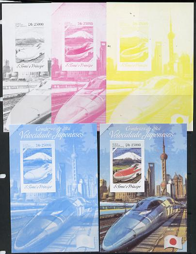 St Thomas & Prince Islands 2014 Japanese High Speed Trains #3 s/sheet - the set of 5 imperf progressive proofs comprising the 4 individual colours plus all 4-colour composite, unmounted mint