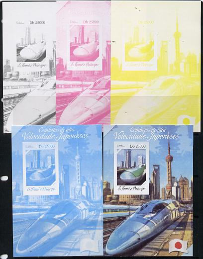 St Thomas & Prince Islands 2014 Japanese High Speed Trains #4 s/sheet - the set of 5 imperf progressive proofs comprising the 4 individual colours plus all 4-colour composite, unmounted mint