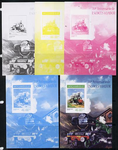 Mozambique 2014 80th Anniversary of Flying Scotsman #1 s/sheet - the set of 5 imperf progressive proofs comprising the 4 individual colours plus all 4-colour composite, unmounted mint