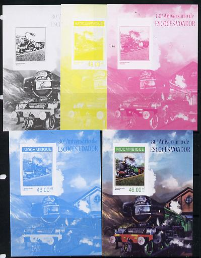 Mozambique 2014 80th Anniversary of Flying Scotsman #2 s/sheet - the set of 5 imperf progressive proofs comprising the 4 individual colours plus all 4-colour composite, unmounted mint