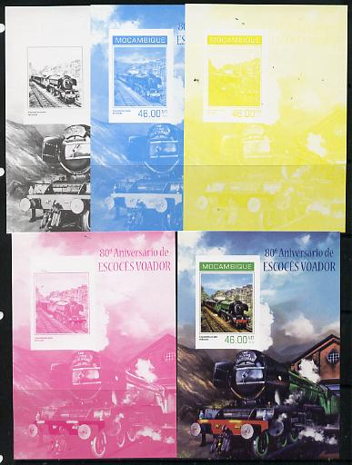 Mozambique 2014 80th Anniversary of Flying Scotsman #4 s/sheet - the set of 5 imperf progressive proofs comprising the 4 individual colours plus all 4-colour composite, unmounted mint