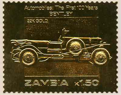 Zambia 1987 Classic Cars 1k50 Bentley in 22k gold foil unmounted mint
