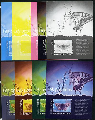 Guinea - Conakry 2014 Butterflies #3 s/sheet - the set of 9 imperf progressive proofs comprising the 4 individual colours plus various 2, 3 and all 4-colour composites, unmounted mint