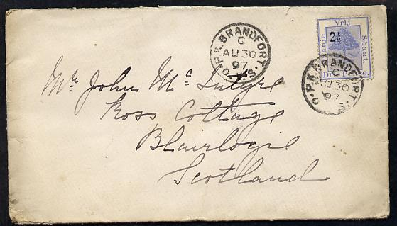 Orange Free State 1897 cover to Scotland bearing 2.5d on 3d adhesive (SG 83a) with Brandfort cds cancel b/stamped Stirling (SG cat A390 x 10)