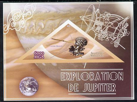 Madagascar 2014 Exploration of Jupiter imperf souvenir sheet containing triangular shaped value unmounted mint