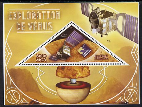 Madagascar 2014 Exploration of Venus perf souvenir sheet containing triangular shaped value unmounted mint