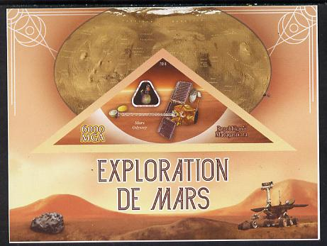 Madagascar 2014 Exploration of Mars imperf souvenir sheet containing triangular shaped value unmounted mint