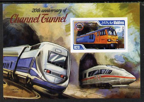 Maldive Islands 2014 20th Anniversary of Channel Tunnel #4 imperf s/sheet unmounted mint. Note this item is privately produced and is offered purely on its thematic appeal