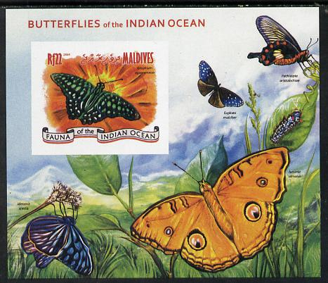 Maldive Islands 2014 Butterflies of the Indian Ocean #3 imperf s/sheet unmounted mint. Note this item is privately produced and is offered purely on its thematic appeal