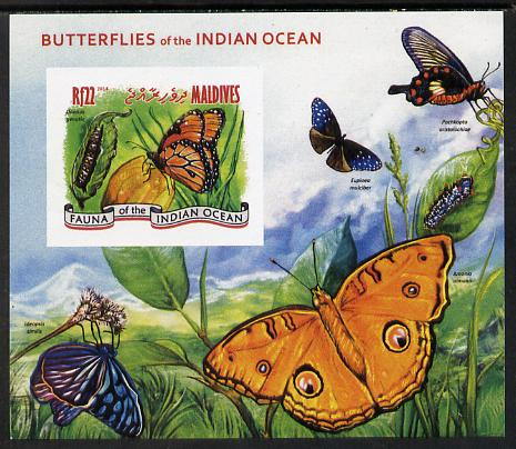 Maldive Islands 2014 Butterflies of the Indian Ocean #4 imperf s/sheet unmounted mint