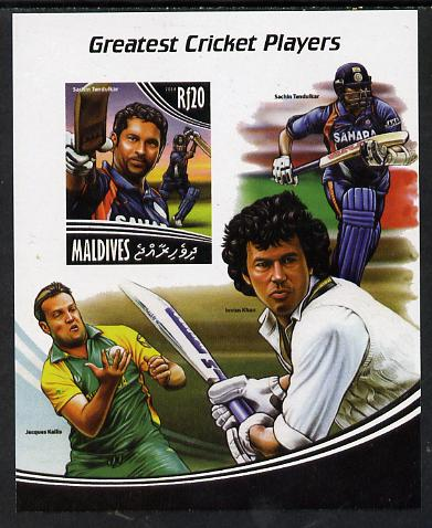 Maldive Islands 2014 Greatest Cricket Players - Sachin Tendulkar imperf s/sheet unmounted mint. Note this item is privately produced and is offered purely on its thematic appeal