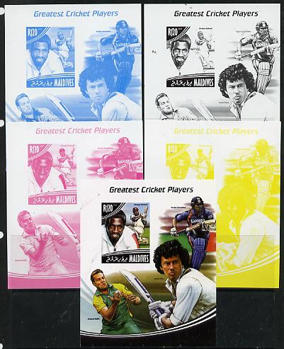 Maldive Islands 2014 Greatest Cricket Players - Viv Richards s/sheet - the set of 5 imperf progressive proofs comprising the 4 individual colours plus all 4-colour composite, unmounted mint , stamps on personalities, stamps on sport, stamps on cricket