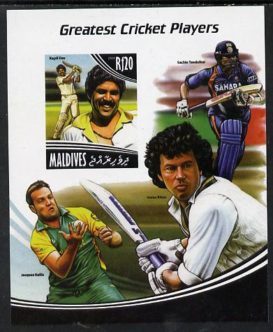 Maldive Islands 2014 Greatest Cricket Players - Kapil Dev imperf s/sheet unmounted mint. Note this item is privately produced and is offered purely on its thematic appeal
