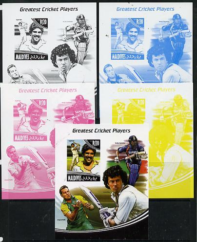 Maldive Islands 2014 Greatest Cricket Players - Kapil Dev s/sheet - the set of 5 imperf progressive proofs comprising the 4 individual colours plus all 4-colour composite, unmounted mint