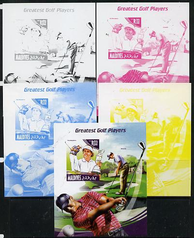 Maldive Islands 2014 Greatest Golf Players - Phil Mickelson s/sheet - the set of 5 imperf progressive proofs comprising the 4 individual colours plus all 4-colour composite, unmounted mint