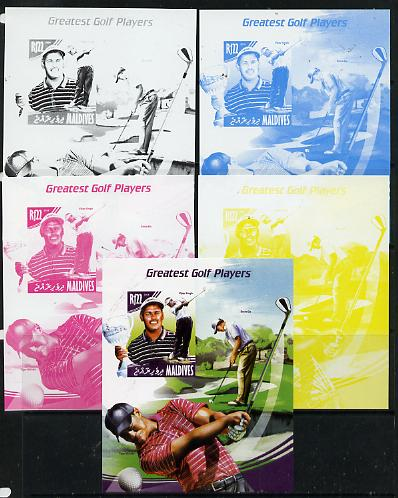 Maldive Islands 2014 Greatest Golf Players - Vijay Singh s/sheet - the set of 5 imperf progressive proofs comprising the 4 individual colours plus all 4-colour composite, unmounted mint