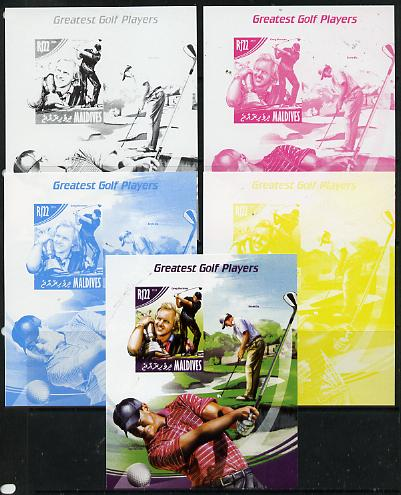 Maldive Islands 2014 Greatest Golf Players - Greg Norman s/sheet - the set of 5 imperf progressive proofs comprising the 4 individual colours plus all 4-colour composite, unmounted mint