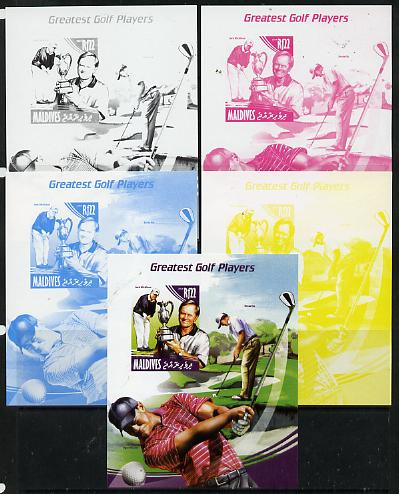 Maldive Islands 2014 Greatest Golf Players - Jack Nicklaus s/sheet - the set of 5 imperf progressive proofs comprising the 4 individual colours plus all 4-colour composite, unmounted mint , stamps on personalities, stamps on sport, stamps on golf