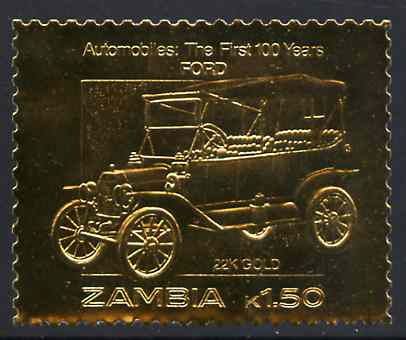 Zambia 1987 Classic Cars 1k50 Ford in 22k gold foil unmounted mint
