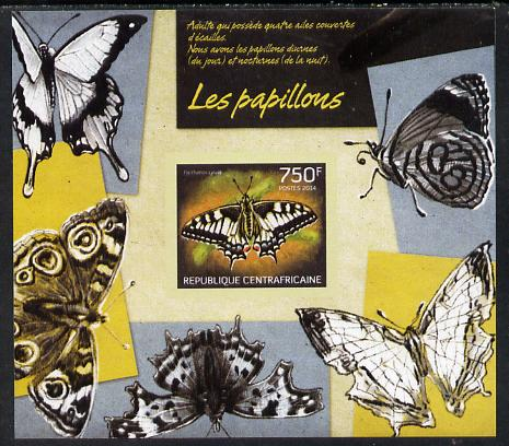 Central African Republic 2014 Butterflies #01 imperf s/sheet B - unmounted mint. Note this item is privately produced and is offered purely on its thematic appeal