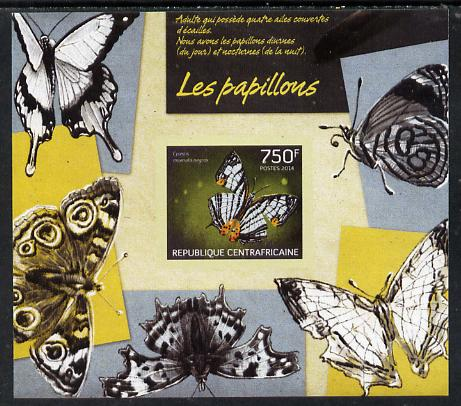 Central African Republic 2014 Butterflies #01 imperf s/sheet C - unmounted mint. Note this item is privately produced and is offered purely on its thematic appeal