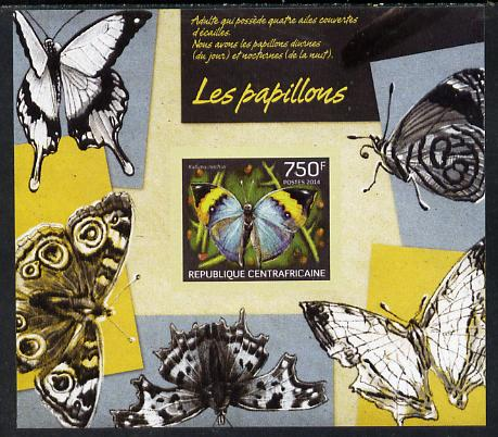 Central African Republic 2014 Butterflies #01 imperf s/sheet D- unmounted mint. Note this item is privately produced and is offered purely on its thematic appeal