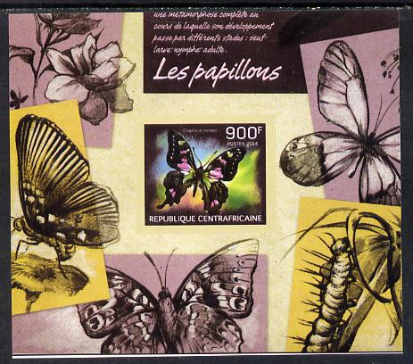 Central African Republic 2014 Butterflies #02 imperf s/sheet A - unmounted mint. Note this item is privately produced and is offered purely on its thematic appeal