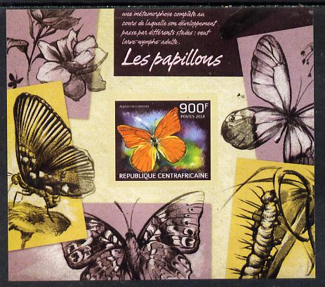 Central African Republic 2014 Butterflies #02 imperf s/sheet B - unmounted mint. Note this item is privately produced and is offered purely on its thematic appeal