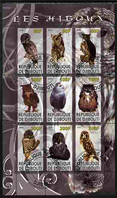 Djibouti 2010 Owls perf sheetlet containing 9 values fine cto used
