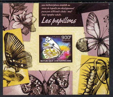 Central African Republic 2014 Butterflies #02 imperf s/sheet C - unmounted mint. Note this item is privately produced and is offered purely on its thematic appeal
