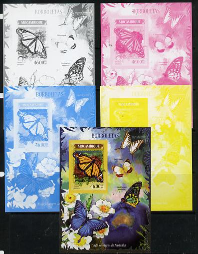 Mozambique 2014 Butterflies #01 imperf s/sheet A - the set of 5 imperf progressive proofs comprising the 4 individual colours plus all 4-colour composite, unmounted mint
