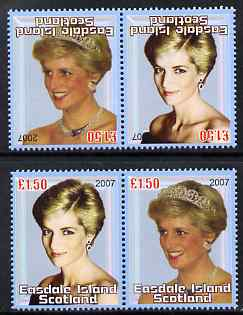 Easdale 2007 Princess Diana \A31.50 #3 perf se-tenant pair with images transposed and Country, value & date inverted (normal shown here for comparison but is not included) unmounted mint