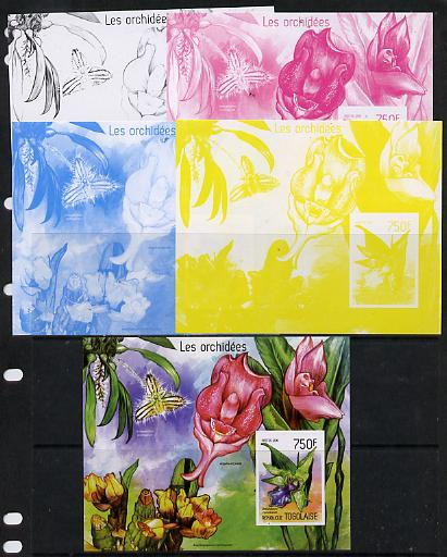 Togo 2014 Orchids imperf s/sheet A - the set of 5 imperf progressive proofs comprising the 4 individual colours plus all 4-colour composite, unmounted mint
