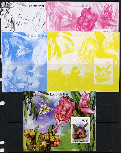 Togo 2014 Orchids imperf s/sheet B - the set of 5 imperf progressive proofs comprising the 4 individual colours plus all 4-colour composite, unmounted mint
