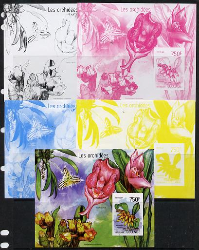 Togo 2014 Orchids imperf s/sheet C - the set of 5 imperf progressive proofs comprising the 4 individual colours plus all 4-colour composite, unmounted mint