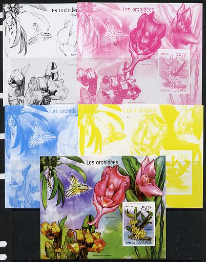 Togo 2014 Orchids imperf s/sheet D - the set of 5 imperf progressive proofs comprising the 4 individual colours plus all 4-colour composite, unmounted mint