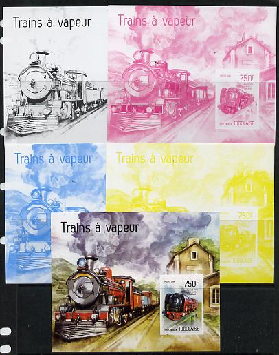 Togo 2014 Steam Locomotives imperf s/sheet A - the set of 5 imperf progressive proofs comprising the 4 individual colours plus all 4-colour composite, unmounted mint