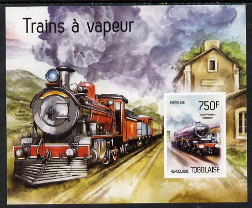 Togo 2014 Steam Locomotives imperf s/sheet B - unmounted mint. Note this item is privately produced and is offered purely on its thematic appeal