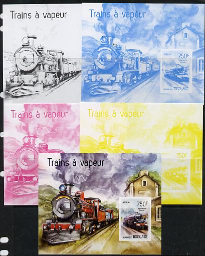 Togo 2014 Steam Locomotives imperf s/sheet B - the set of 5 imperf progressive proofs comprising the 4 individual colours plus all 4-colour composite, unmounted mint