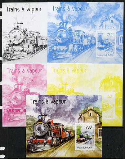 Togo 2014 Steam Locomotives imperf s/sheet C - the set of 5 imperf progressive proofs comprising the 4 individual colours plus all 4-colour composite, unmounted mint