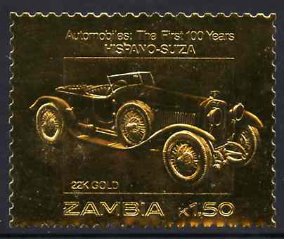 Zambia 1987 Classic Cars 1k50 Hispano-Suiza in 22k gold foil unmounted mint