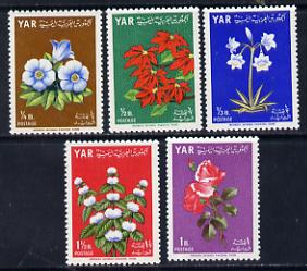 Yemen - Republic 1964 Flowers 'Postage' set of 5 (SG 298-302) unmounted mint, stamps on flowers